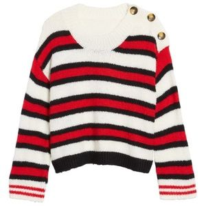 2/$30 NWT BP. CAITLYN BUTTON STRIPE SWEATER